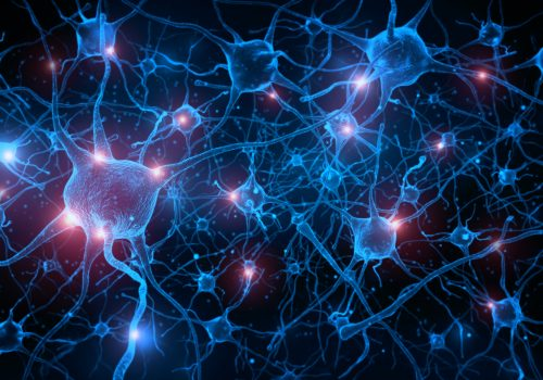 Horizologie - neuron cells with glowing in human brain